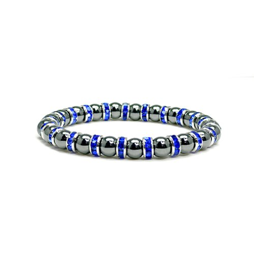 Accents Kingdom Women's Magnetic Hematite Tuchi Simulated Pearl Bracelet with Simulated Sapphire Crystal, 7.5