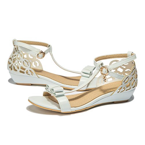 Women T-Strap Bow-Knot Open Toe Ankle Strap with Hollow Out Demi Wedge Heel Sandals