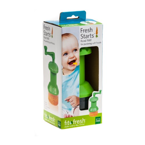 Fit & Fresh - Fresh Starts Baby Food Mill with 1-Cup Reusable Container, Prepare and Puree Baby Food On-the-Go, BPA-Free, Freezer/Microwave/Dishwasher Safe