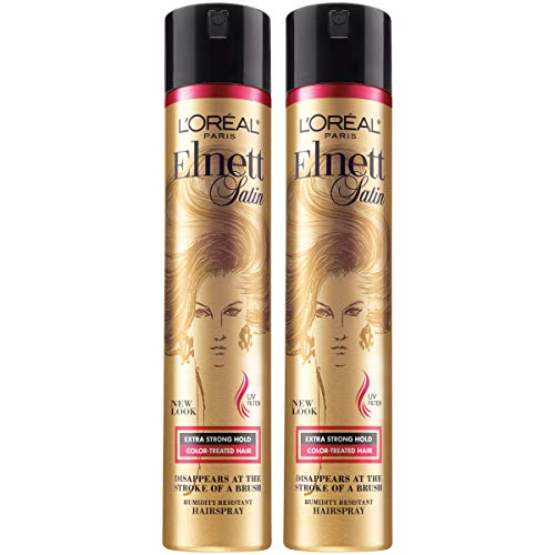 L'Oreal Paris Hair Care Elnett Satin Extra Strong Hold Hairspray For Color Treated Hair, Long Lasting Plus Humidity Resistant Hair Spray, 11 oz, (Pack of 2) (Best Hairspray For Colored Hair)