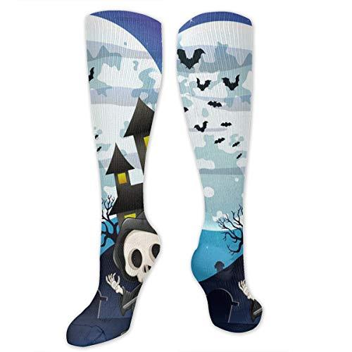 Graduated Football Socks Athletic Tube Stockings - Halloween