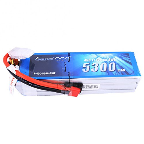 Gens ace 11.1V 5300mAh 3S 45C LiPo Battery Pack Deans Plug for Electric Boat 1 8 Scale Brushless Buggy B 17 for RC Helicopter Hobby Drone and FPV