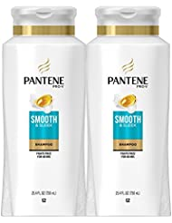 Pantene Pro-V Smooth and Sleek Shampoo, 25.4 Fl Oz (Pack of 2) - With Argan Oil (Packaging May Vary)