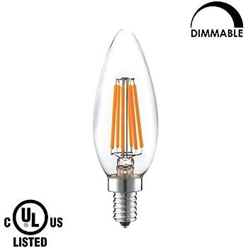 LIGHTSTORY Candle LED Bulb Dimmable, E12 base 6W 600 Lumen ...