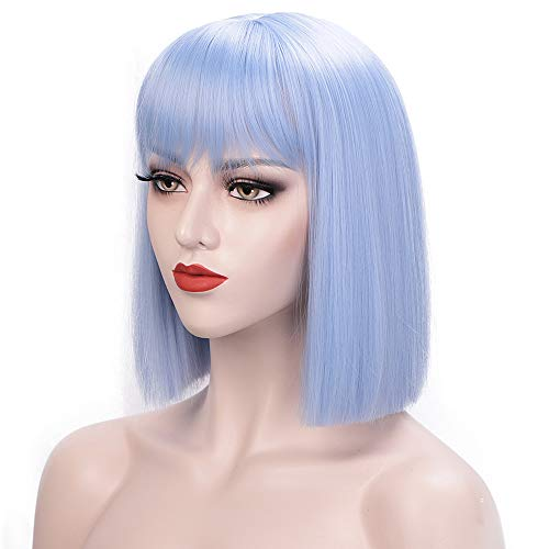ENTRANCED STYLES Light Blue Wig Short Bob Hair Wigs with Straight Flat Bangs for Women Synthetic Chritmas Cosplay Party Daily Use Wig