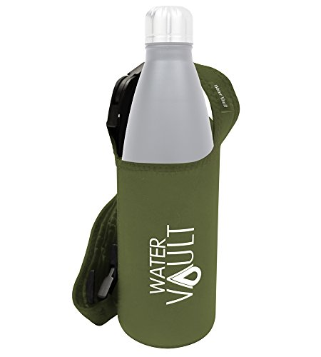 WaterVault Neoprene Bottle Holder, Adjustable Detachable Strap, Shoulder Sling & Hand Carrier - Army Green Regular