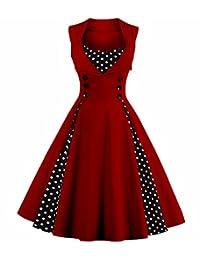 Aecibzo Women's 1950s Vintage Retro Plaid Patchwork A-line Cocktail Party Dress