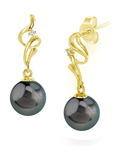 18K Gold Tahitian South Sea Pearl Aria Earrings - AAA Quality, yellow-gold, 10.0-11.0mm