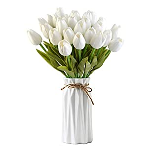 "obmwang 30 pcs Artificial Tulip Flowers, PU Real-Touch Tulips Fake Bouquet 12.7"" for Wedding Party Home Decor Style DIY, Easy to Clean (White) 23"