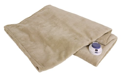 Serta Luxe Plush Low-Voltage Electric Heated Micro-Fleece Throw, Pearl