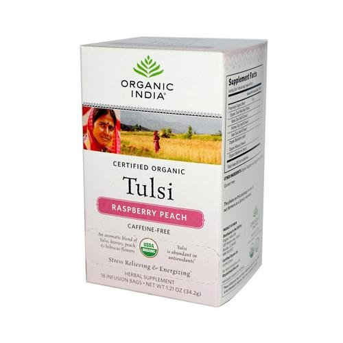 Tea Raspberry Peach Tulsi (Organic India Tulsi Tea Raspberry Peach - 18 Tea Bags - Case Of 6)