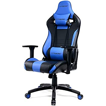 GTracing Ergonomic Racing Chair Recliner Gaming Chair Backrest and Seat Height Adjustment Swivel Chair with Pillows (F83-Blue)