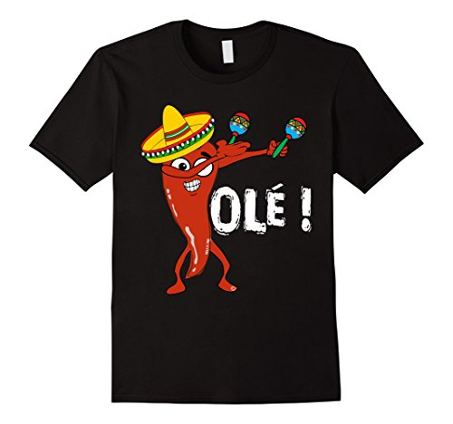 Men's Cinco De Mayo Shirt For Men Women Dancing Chili Pepper Ole 2XL Black Dancing Chili Pepper
