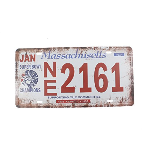 6x12 Inches Vintage Feel Home,bathroom,shop and Bar Wall Decor Souvenir Metal Tin Sign Poster Plaque (Massachusetts)