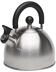 Primula Stewart Whistling Stovetop Tea Kettle Food Grade Stainless Steel, Hot Water Fast to Boil, Cool Touch Folding Handle, 1.5 Qt, Brushed