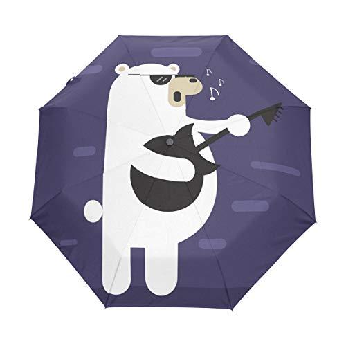 Hulahula White Bear Guitar Song Umbrella Windproof Automatic Foldable Umbrells Auto Open Close for Men Women Kids -