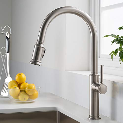 Kraus KPF-1680SFS Sellette Kitchen Faucet, 17.63, Spot Free Stainless Steel - Handle Wall Mount Gooseneck Faucet