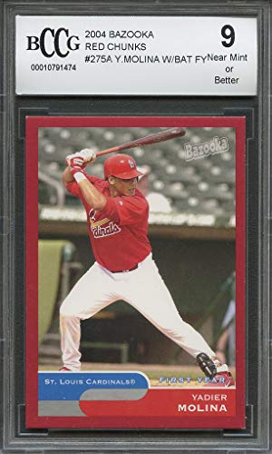 2004 Bazooka Rookie Card - 2004 bazooka red chunks #275a YADIER MOLINA cardinals rookie card BGS BCCG 9 Graded Card