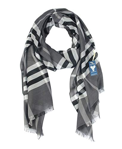Long Check/Plaid Scarf Fashion Lightweight 74.827.5 Silky Smooth 100% Polyester (GREY 2)