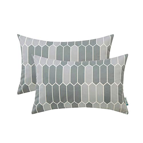 (HWY 50 Grey Decorative Throw Pillows Covers Set Cushion Cases for Couch Sofa Bed Comfy Simple Geometric Gray Rectangle Print 12 x 20 inch Pack of 2)
