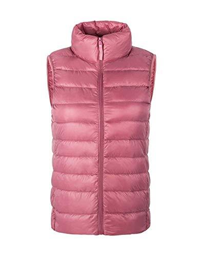 Chaleco Acolchado Mujer Otoño Invierno Elegantes Sin Mangas High Collar Pluma Camisolas Casuales Mujeres Termica Espesor Ligeramente Colmar Chaleco Fashion Vintage Casual Outerwear Con Bolsillos Pink