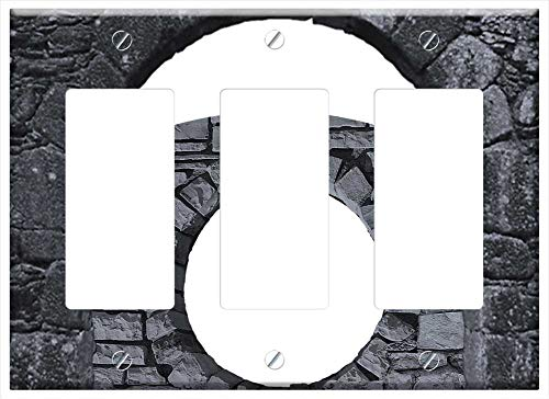 Switch Plate Triple Rocker/GFCI - Cut Out Collage Combination Stone Portal Porthole