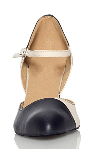 Jane Women's Wedding Black Tango Latin 5cm Shoes Dance Ballroom Pointed 7 Salsa New Toe Mary TDA Leather UXd7w4dqa