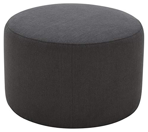 Rivet Tompkins Contemporary Foam-Padded Fabric Ottoman, 24 W, Pepper