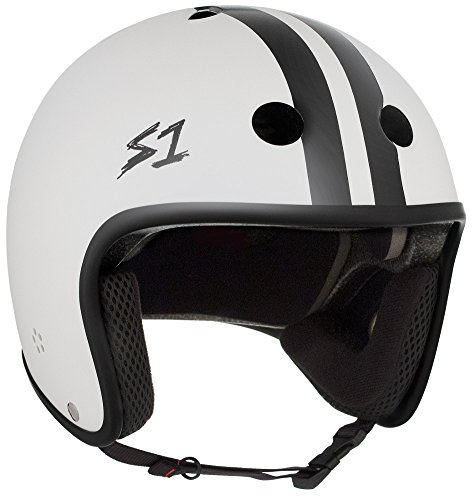 Matte Stripe (S-ONE Retro Lifer CPSC - Multi-Impact Helmet -White Matte w/Black Stripes - XX-Large (23