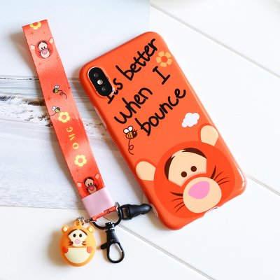 Tigger Case with Charm Hand Strap for iPhone X Soft TPU Gel Rubber 3D Cartoon Shockproof Protective Cute Lovely Gift Girls Teens Kids Boy Disney Tiger Winnie the -
