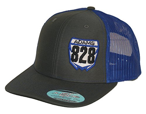 JUST RIDE Number Plate Snapback Mesh Hat Custom Personalized Motocross Moto (Royal Blue-Grey Black #'S Yamaha)