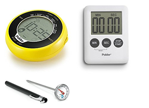 Polder Egg/Pasta Timer, Instant Read Pocket Thermometer, and 100-Minute Mini Timer Set