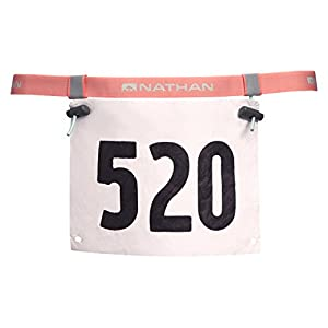 Nathan Race Number Belt with Clip & Reflective Bands, Fusion Coral, One Size