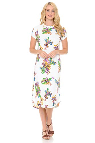 iconic luxe Women's A-Line Short Sleeve Midi Dress Small Floral Ivory Purple (Ivory Dress Floral)