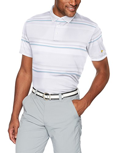 Gradient Stripe - Jack Nicklaus Men's Gradient Stripe Short Sleeve Polo Shirt, Bright White, XL
