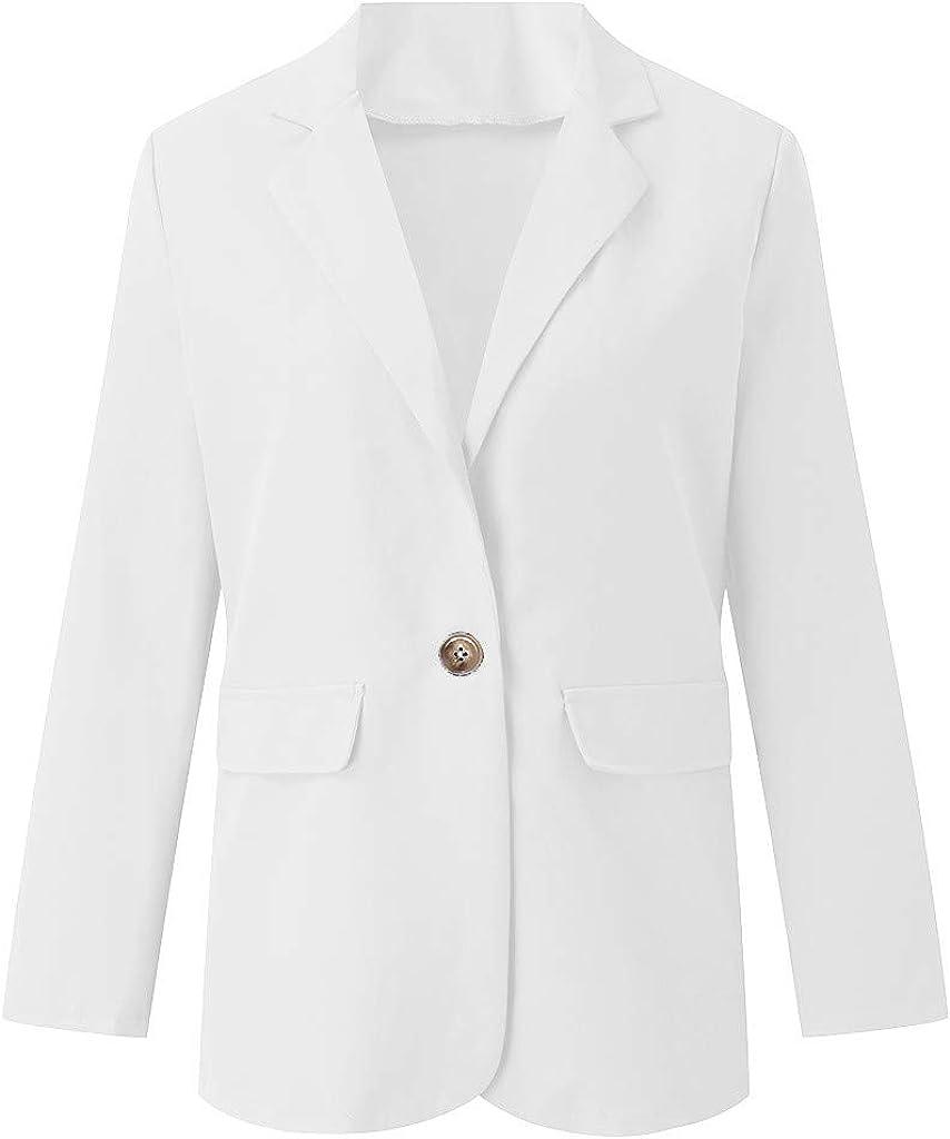 Womens Blazer Coat,Ladies Casual Long Sleeve Buttons Pockets Solid Outwear Office Worker Wear Suit Jacket Tops