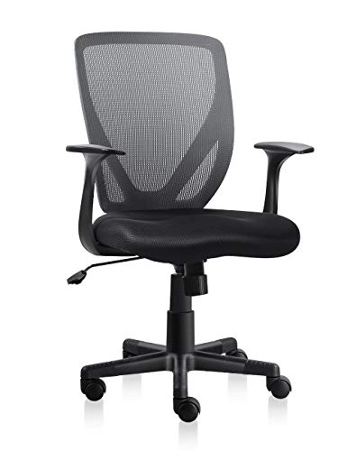 VH Furniture Mesh Office Chair Mid-Back Adjustable Computer Desk Chair with Padded Seat and Lumbar Support (Black)