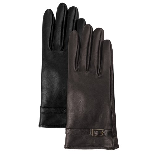 Luxury Lane Women's Cashmere Lined Lambskin Leather Gloves with Buckle - Chocolate Medium by Luxury Lane (Image #4)