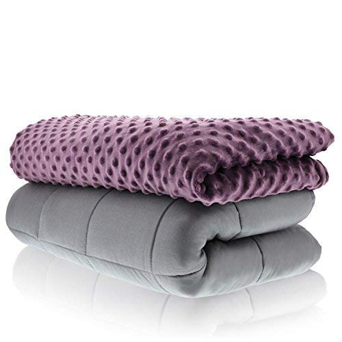 Sonno Zona Weighted Blanket Adult Size - for Natural Calm - Plum 48x72 15 LBS- Blankets Made from Relaxation Sleep Fabric