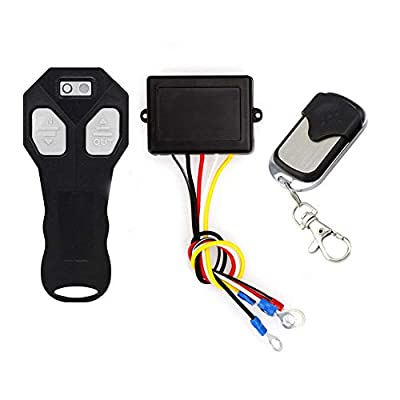 Niome 50ft Wireless Cordless Winch Control Remote Kit Handset for Jeep Twin DC 12V