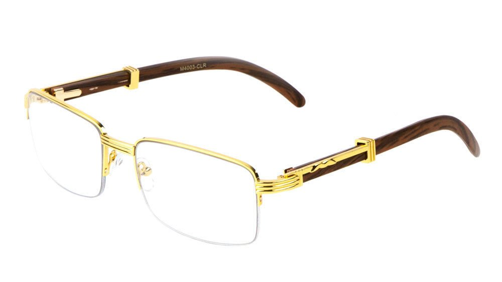 Executive Half Rim Rectangular Metal & Wood Eyeglasses / Clear Lens Sunglasses - Frames (Gold & Dark Brown Wood, Clear)