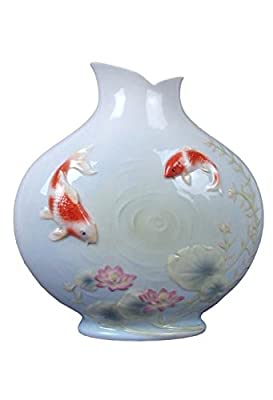 8.5 Inch Porcelain Vase with Koi In Lotus Pond with Rippling Water