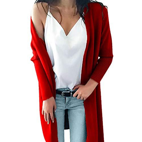 Tops Manches Longues Rouge tricot Tops Chic POTTOA Femme Manches Multicolore Tops Blouse Taille Mode Chandail l'hiver Femme de Blouse Poches Shirts Les Blouse Pull Longues Solides Blouse T Femmes Long qCxnnTwZ8A