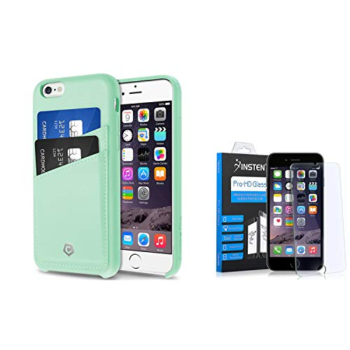Cobble Pro Premium Handcrafted [Ultra Slim] Mint Green Leather Back Case Cover w/ID Credit Card Slot Holder + Clear Tempered Glass Screen Protector Compatible with iPhone 6S / iPhone 6 (4.7