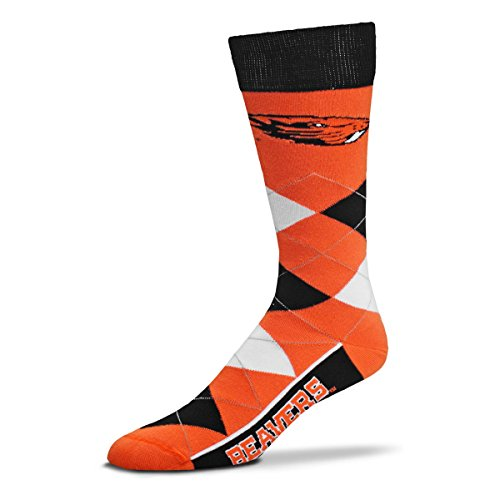 (For Bare Feet NCAA Argyle Lineup Unisex Crew Dress Socks-One Size Fits Most-Oregon State Beavers)