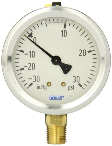 WIKA 9767010 Industrial Pressure Gauge, Liquid/Refillable, Copper Alloy Wetted Parts, 2-1/2