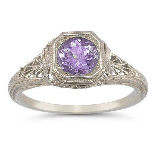 Filigree Ring Amethyst White Gold - Vintage Filigree Amethyst Ring in 14K White Gold