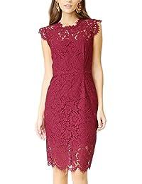 Women's Sleeveless Lace Floral Elegant Cocktail Dress...