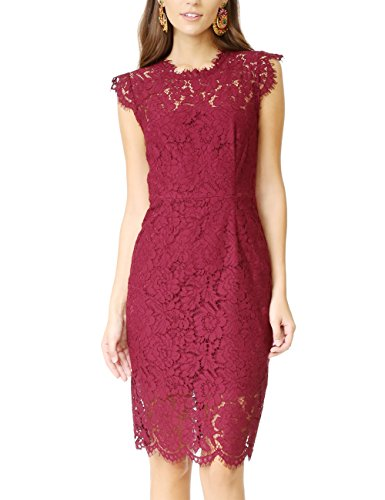 MEROKEETY Women's Sleeveless Lace Floral Elegant Cocktail Dress Crew Neck Knee Length for Party Red