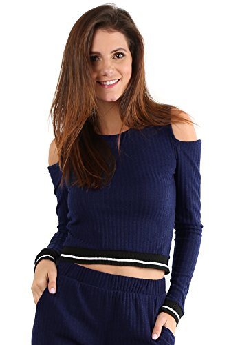 Cassandra - Navy Tracksuit Cold Shoulder Crop Top Long Sleeve Sweater (Flirtatious Stripe)